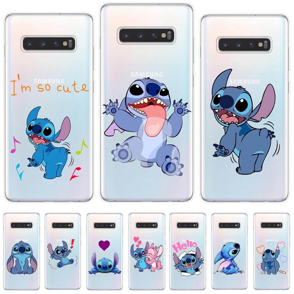 Coque de Téléphone Stitch Mignon en Silicone (samsung galaxy S7 / S8 / S9 / S10 Plus / S10 Lite / Note 9